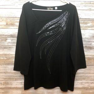 Bob Mackie XL 3/4 Sleeve Black Top
